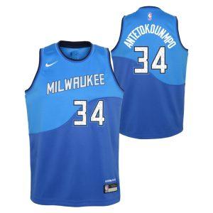 Nike Giannis Antetokounmpo Milwaukee Bucks City Edition Youth NBA Swingman Jersey