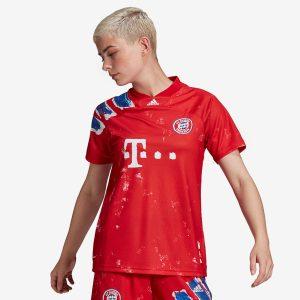 adidas FC Bayern Human Race Womens Jersey True RedWhite 1