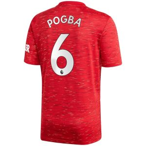 adidas Manchester United Home Shirt 2020 21 with Pogba 6 printing Jersey Red 1