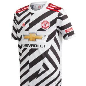 adidas Manchester United Third Shirt 2020 21 with Pogba 6 printing Jersey WhiteBlack 3