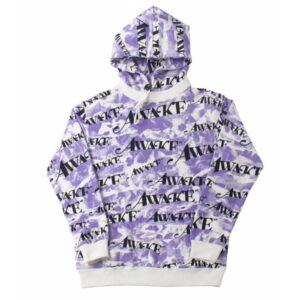 Awake All Over Camo Logo Hoodie Purple