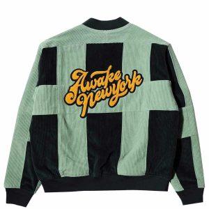 Awake Chenille Patch Corduroy Logo Jacket Green 1