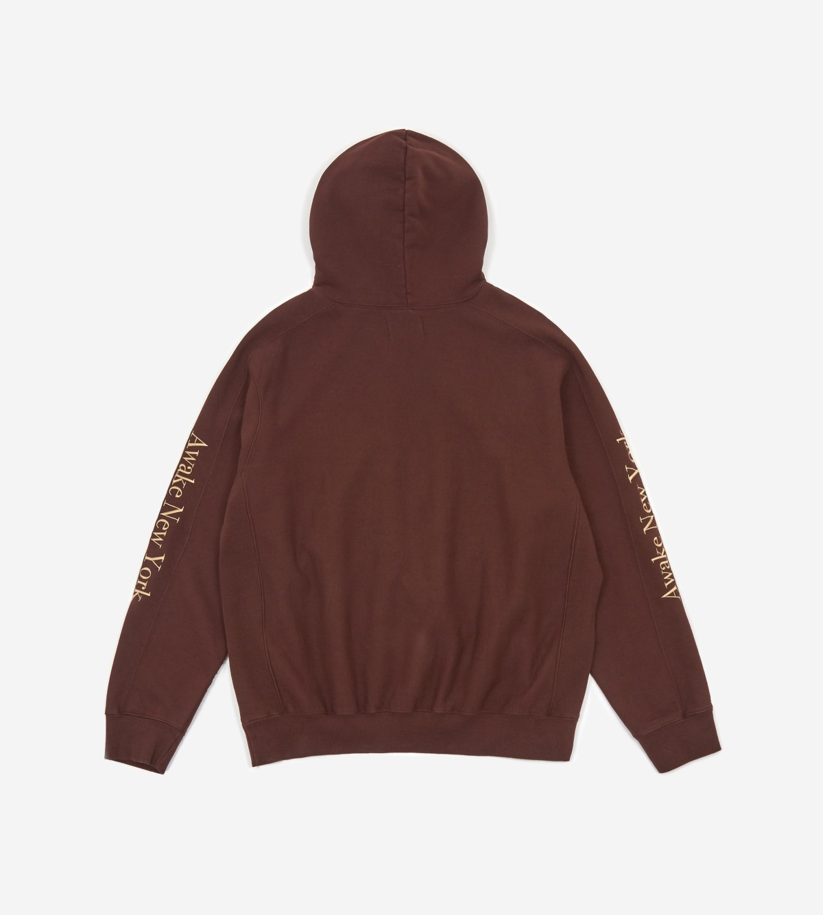 Awake Classic Outline Logo Paneled Embroidered Hoodie Brown 1