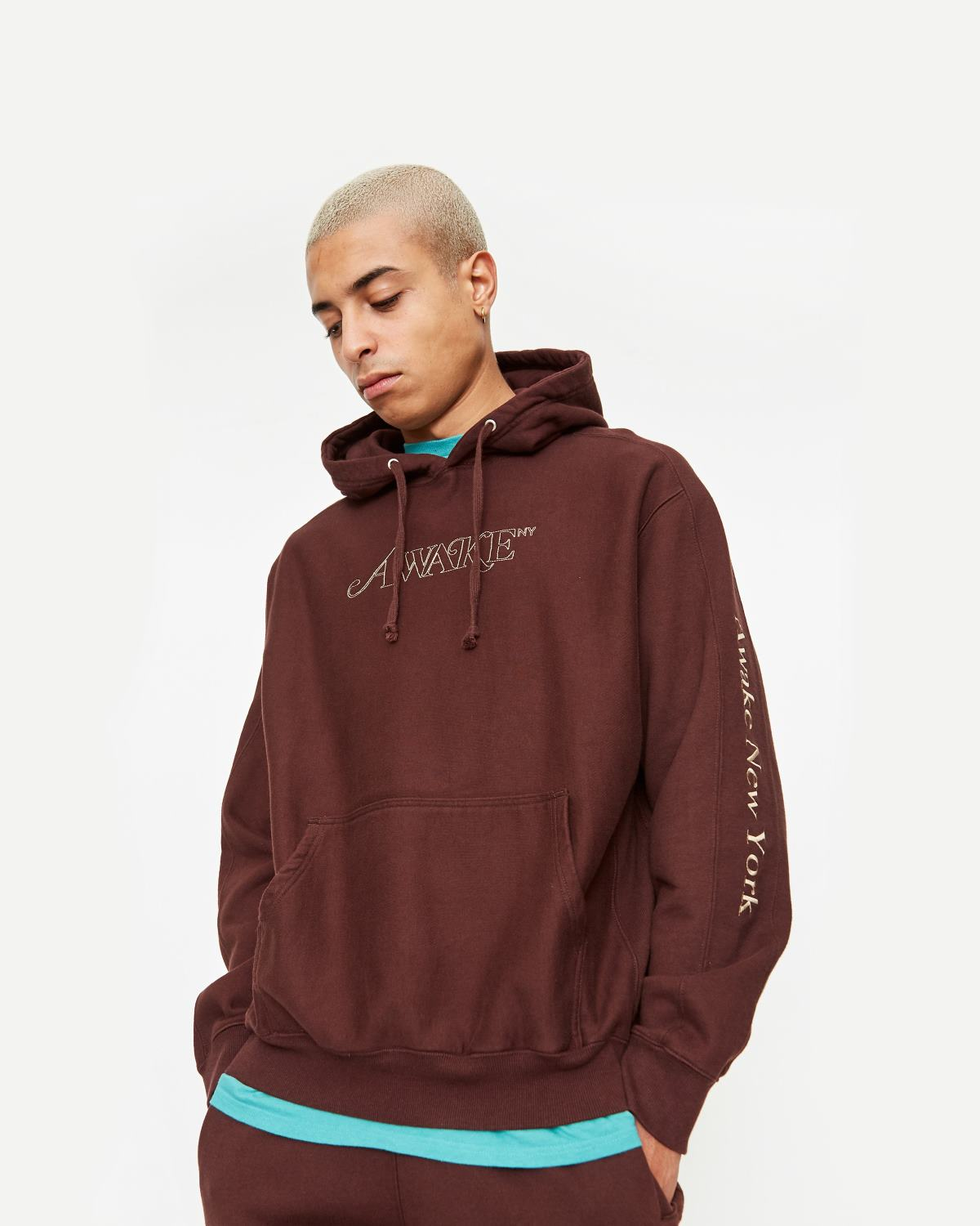 Awake Classic Outline Logo Paneled Embroidered Hoodie Brown 2
