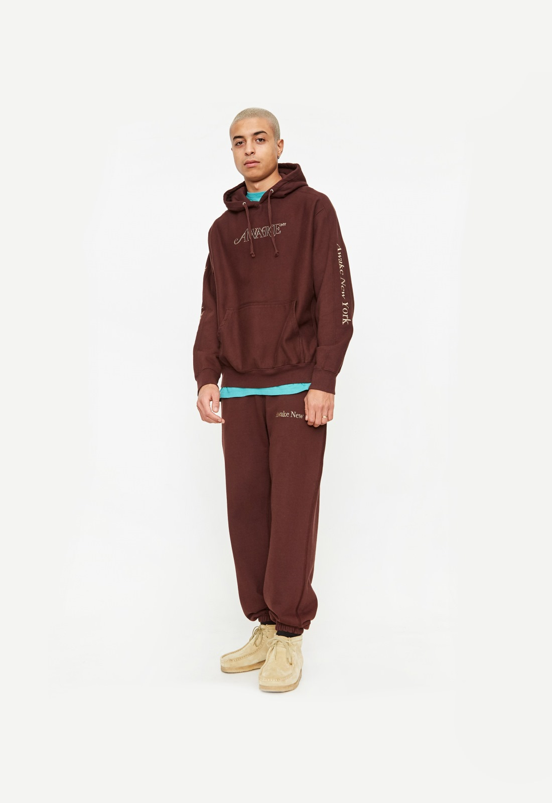 Awake Classic Outline Logo Paneled Embroidered Hoodie Brown 3