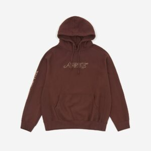 Awake Classic Outline Logo Paneled Embroidered Hoodie Brown