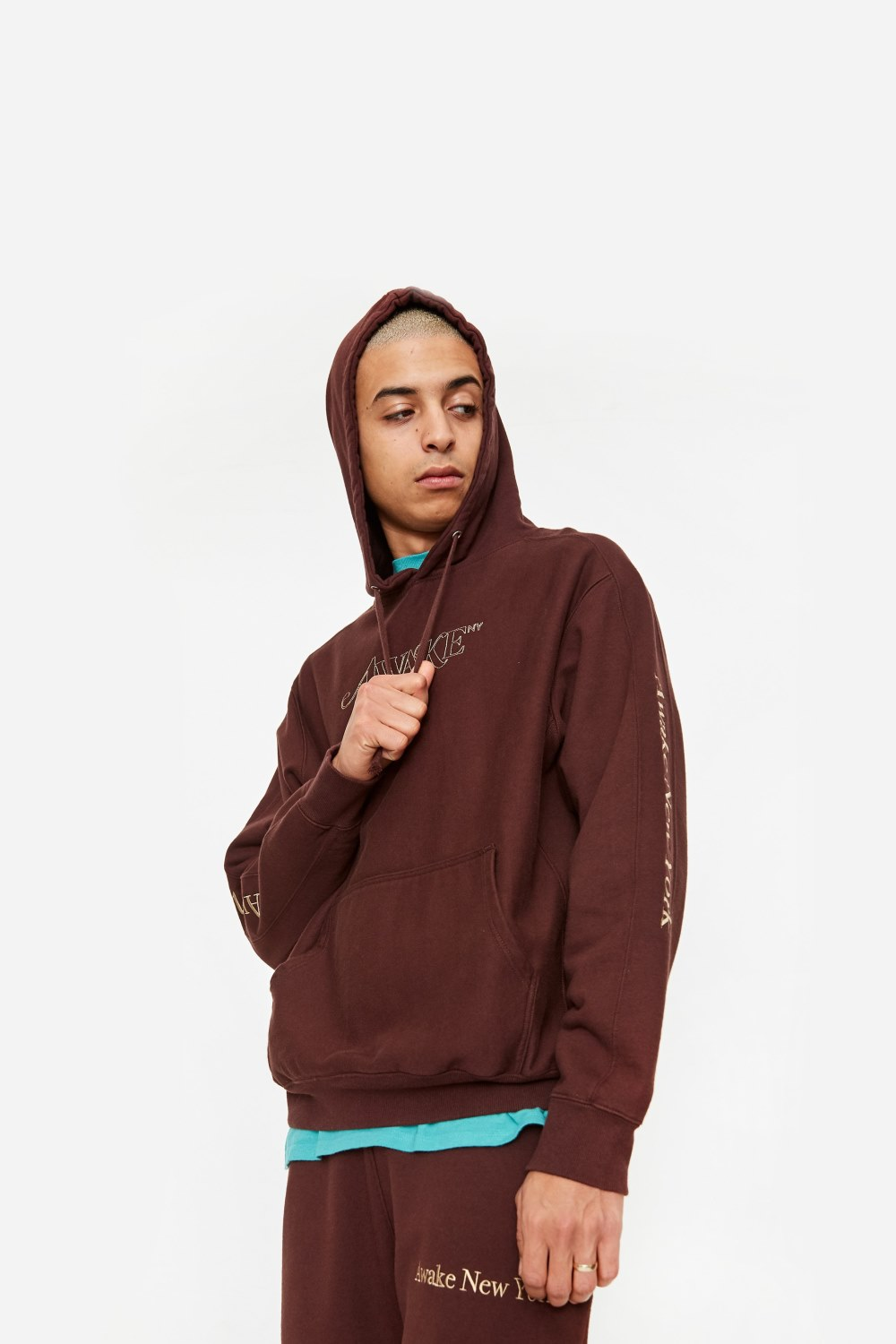 Awake Classic Outline Logo Paneled Embroidered Hoodie Brown 4