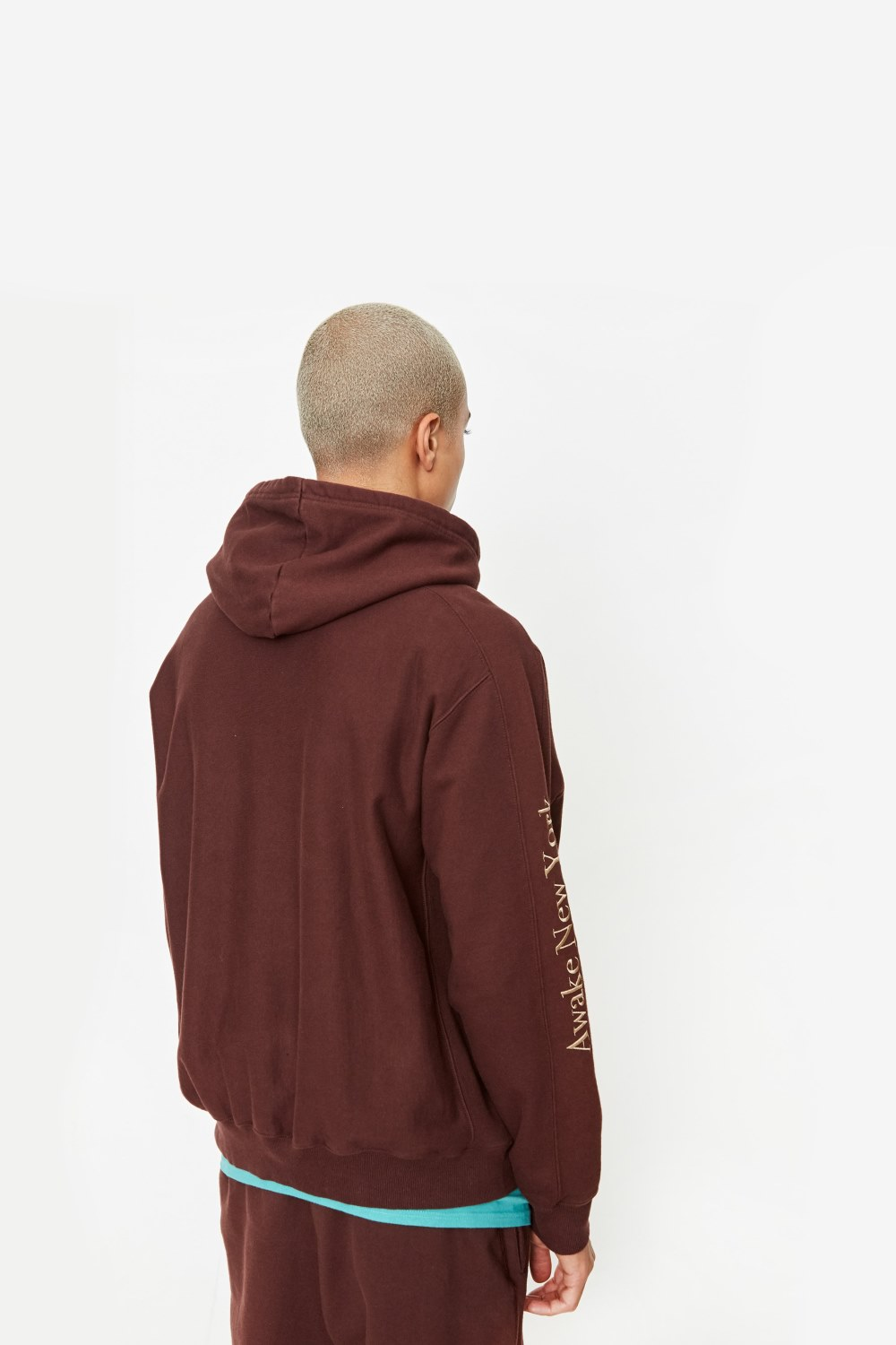 Awake Classic Outline Logo Paneled Embroidered Hoodie Brown 5