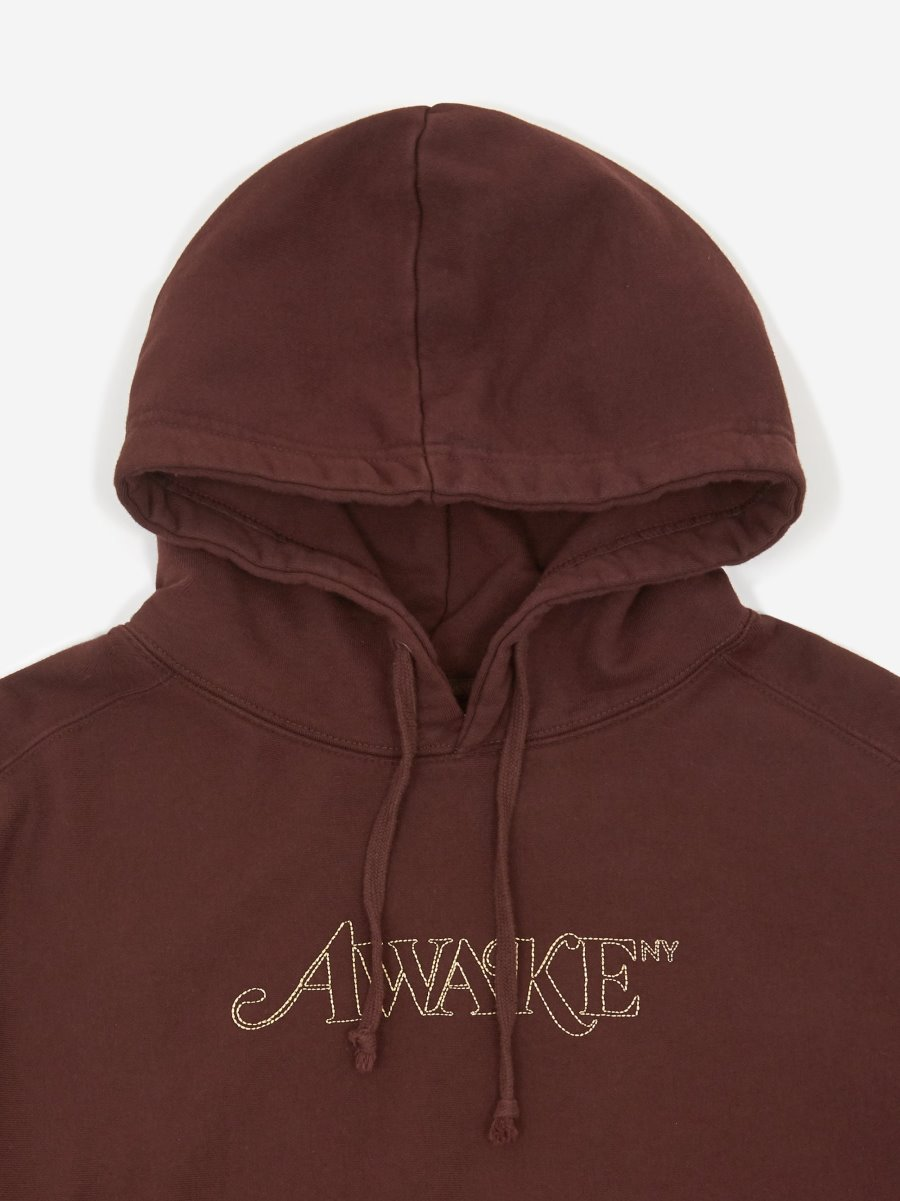 Awake Classic Outline Logo Paneled Embroidered Hoodie Brown 6
