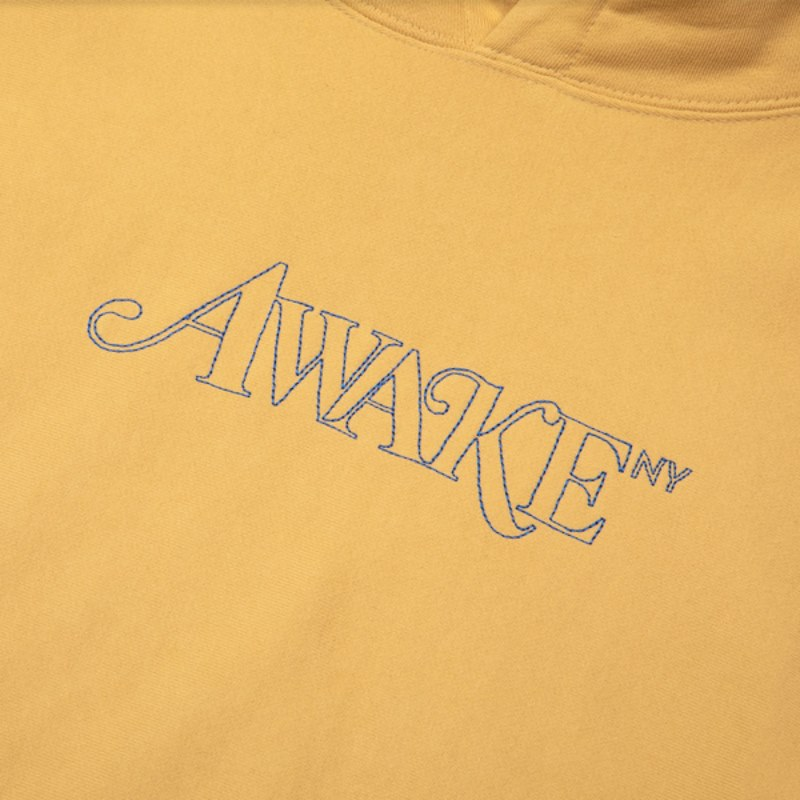Awake Classic Outline Logo Paneled Embroidered Hoodie Mustard 1