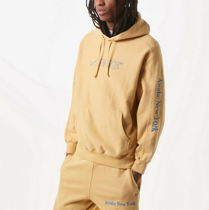 Awake Classic Outline Logo Paneled Embroidered Hoodie Mustard 3