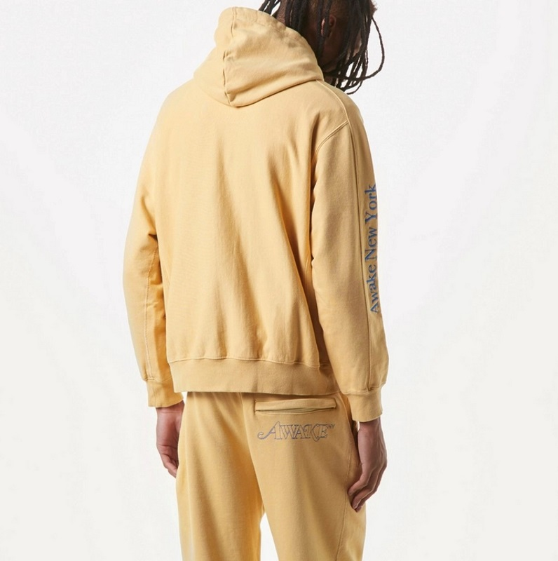 Awake Classic Outline Logo Paneled Embroidered Hoodie Mustard 4