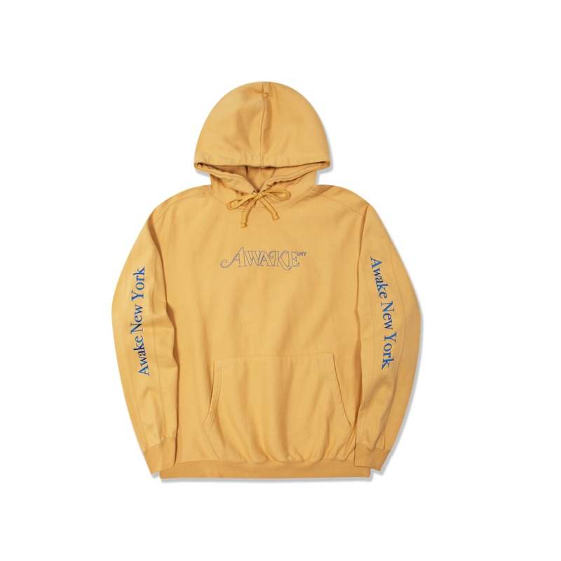 Awake Classic Outline Logo Paneled Embroidered Hoodie Mustard