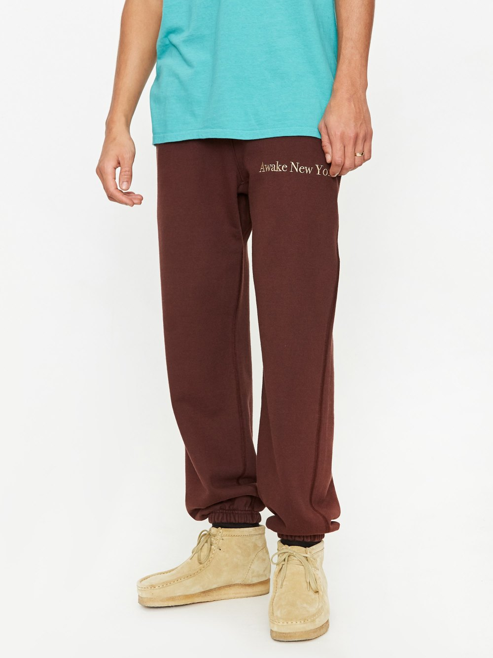 Awake Classic Outline Logo Paneled Embroidered Sweatpant Brown 2
