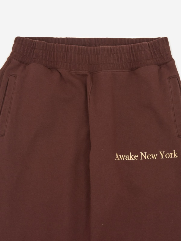 Awake Classic Outline Logo Paneled Embroidered Sweatpant Brown 5