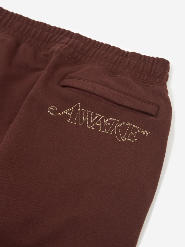 Awake Classic Outline Logo Paneled Embroidered Sweatpant Brown 6
