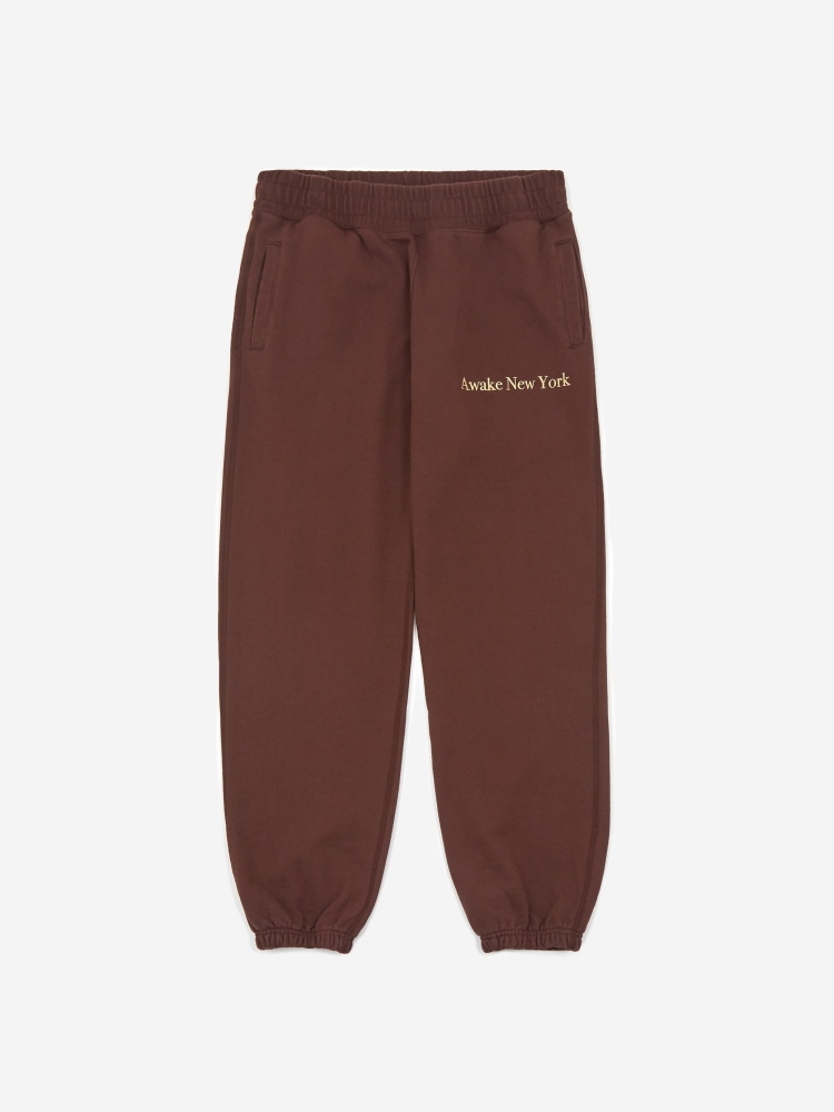 Awake Classic Outline Logo Paneled Embroidered Sweatpant Brown