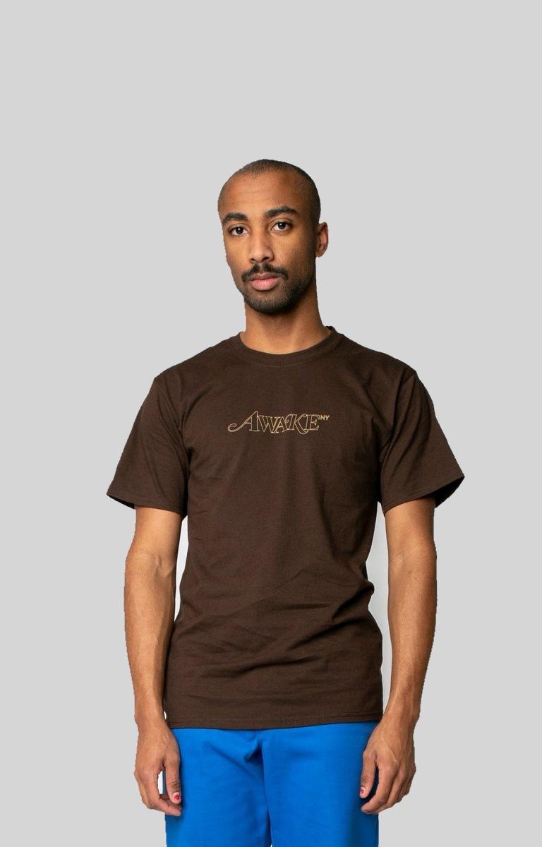 Awake Classic Outline Logo T shirt Brown 2