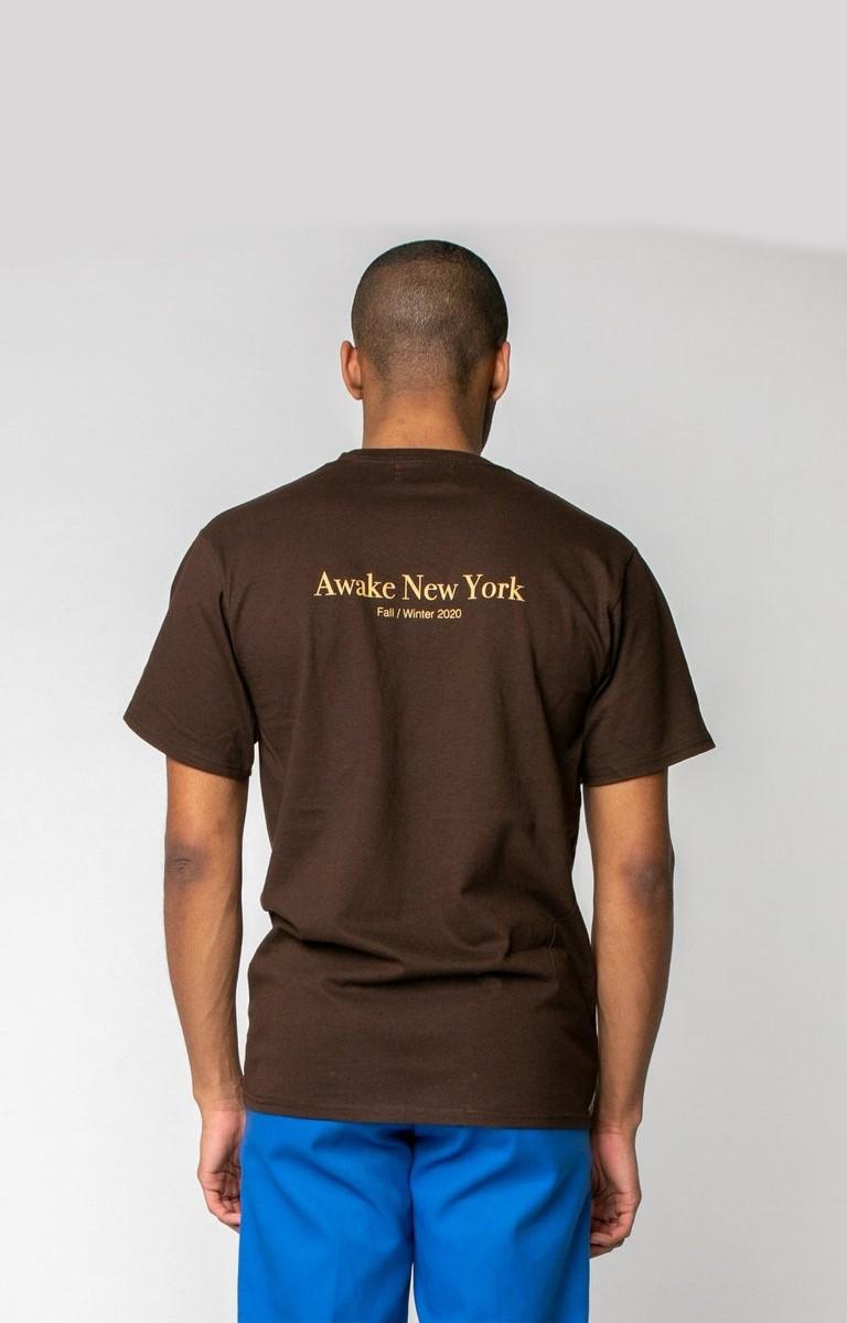 Awake Classic Outline Logo T shirt Brown 3