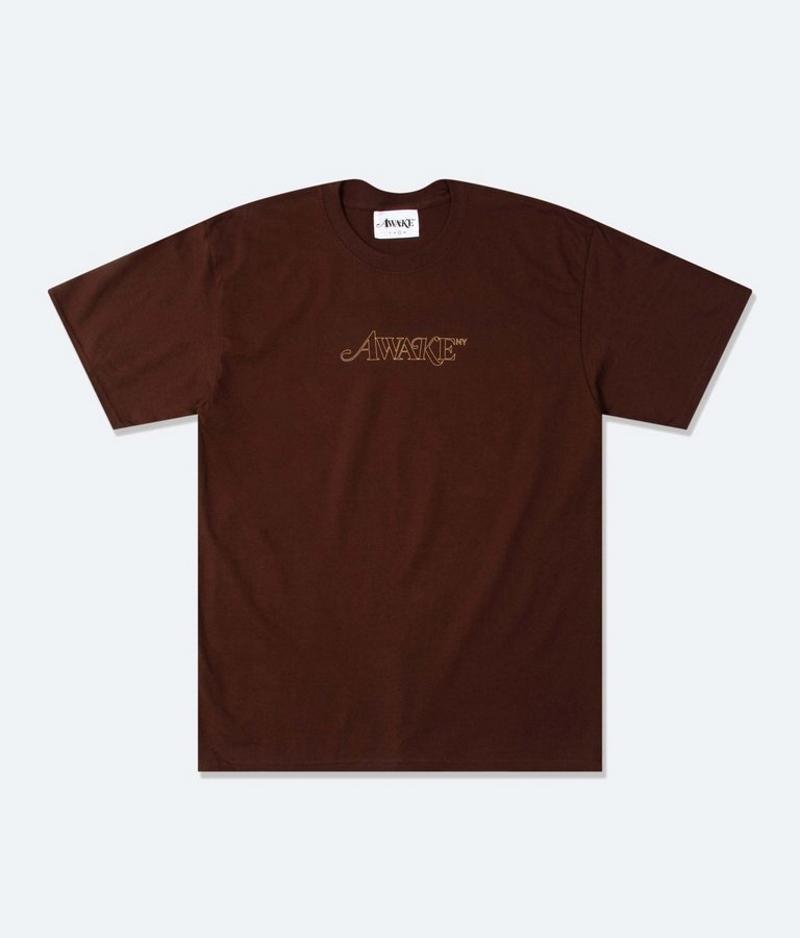 Awake Classic Outline Logo T shirt Brown