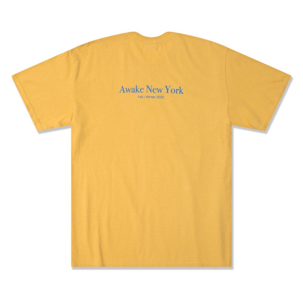 Awake Classic Outline Logo T shirt Mustard 1