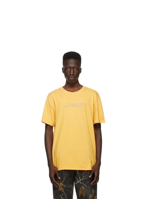 Awake Classic Outline Logo T shirt Mustard 2