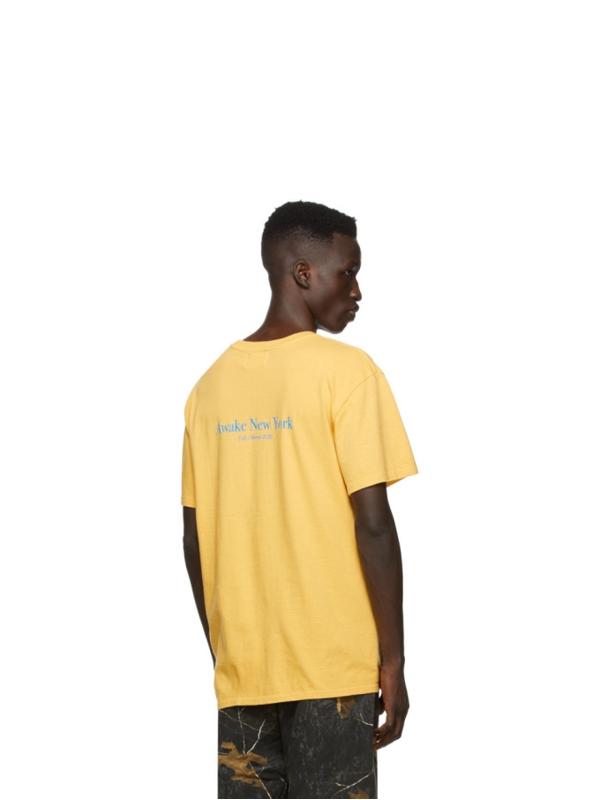 Awake Classic Outline Logo T shirt Mustard 3
