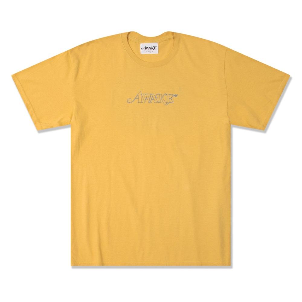 Awake Classic Outline Logo T shirt Mustard