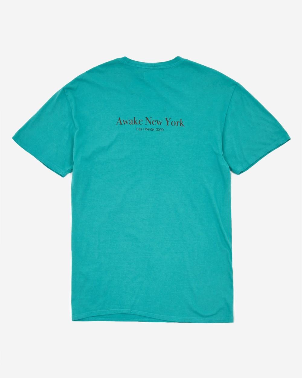 Awake Classic Outline Logo T shirt Teal 1