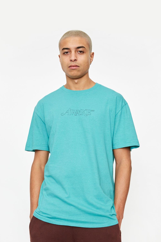 Awake Classic Outline Logo T shirt Teal 2
