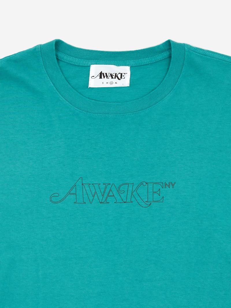 Awake Classic Outline Logo T shirt Teal 5
