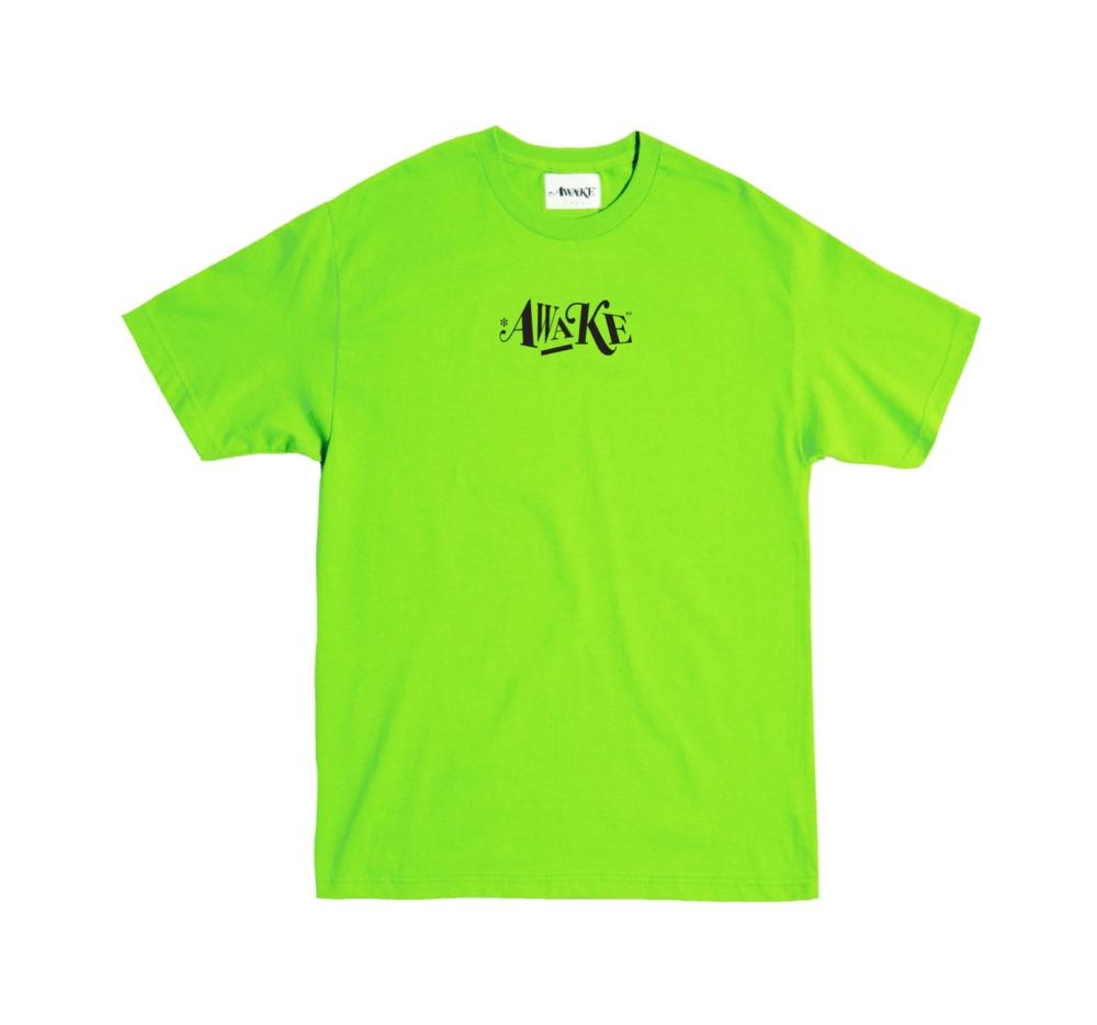 Awake Distorted Logo Tee Lime Green