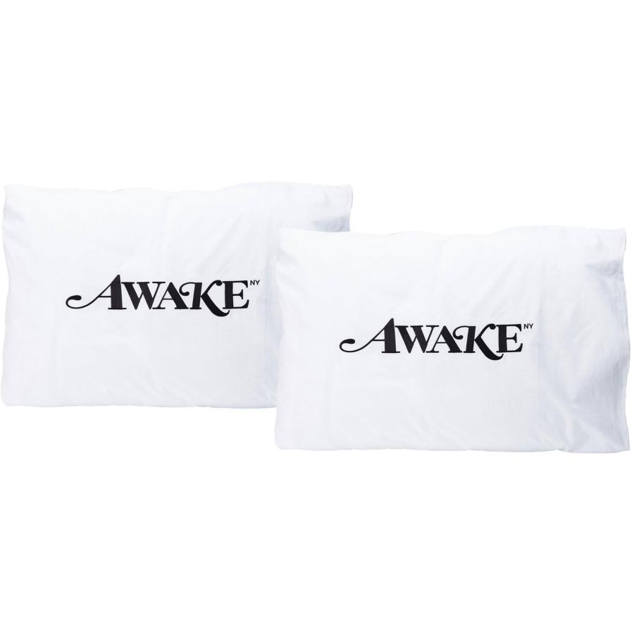 Awake Embroidered Classic Logo Pillowcase Set White