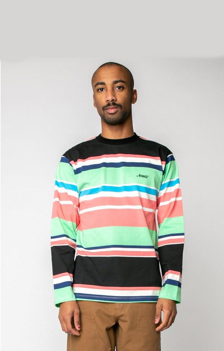 Awake Embroidered Logo Engineered Stripe LS T shirt Black 1
