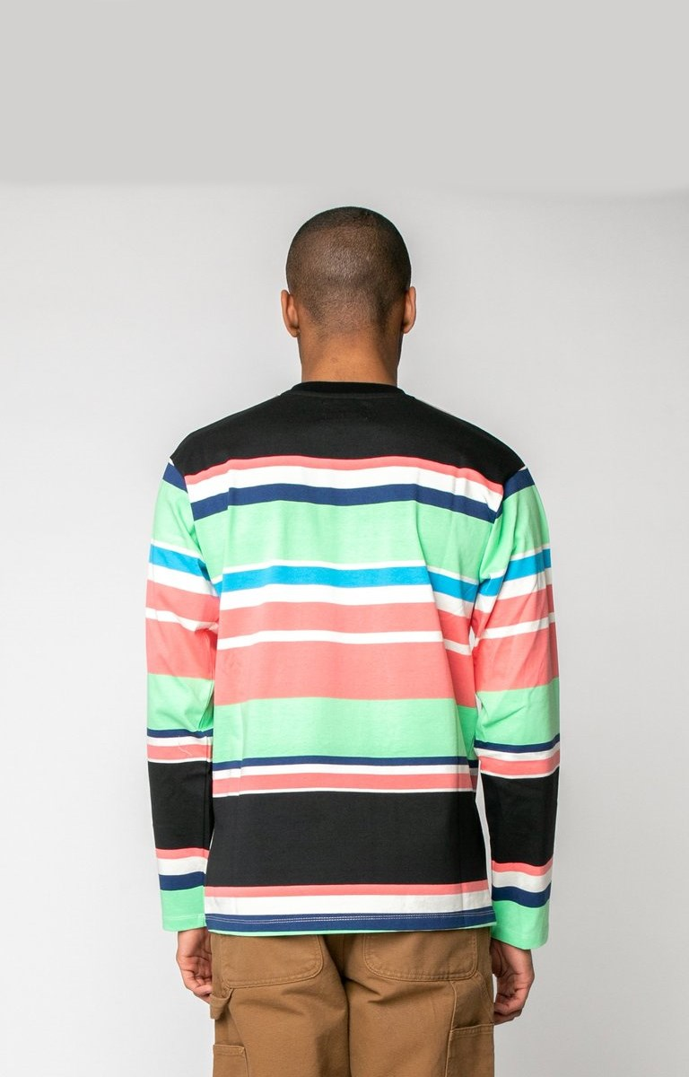 Awake Embroidered Logo Engineered Stripe LS T shirt Black 3