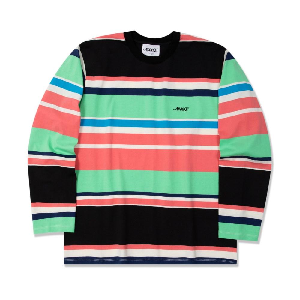 Awake Embroidered Logo Engineered Stripe LS T shirt Black