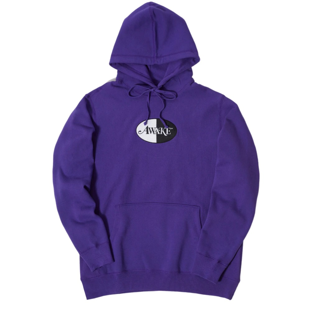 Awake Embroidered Split Logo Patch Hoodie Purple