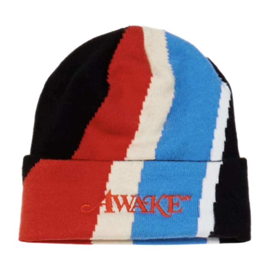 Awake Multi Stripe Intarsia Knit Classic Logo Beanie Multi Stripe Black