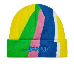 Awake Multi Stripe Intarsia Knit Classic Logo Beanie Multi Stripe Green