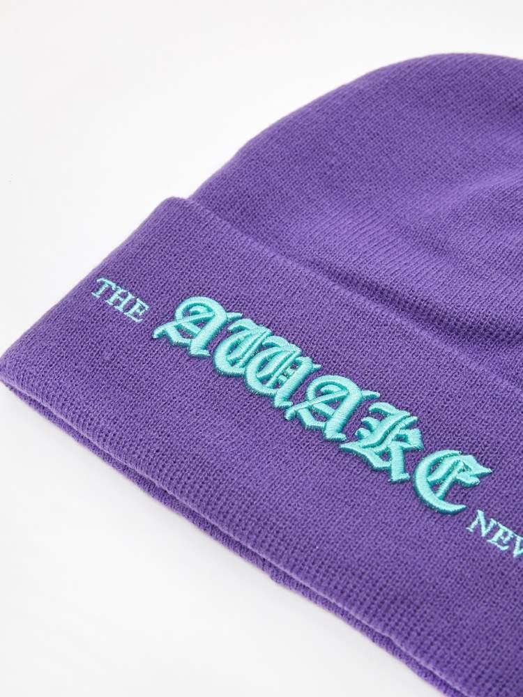 Awake Old English Logo Beanie Violet 2