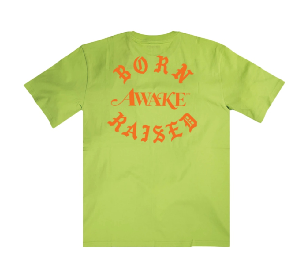 Awake x Born X Raised Carhartt WIP Pocket Tee Lime 1