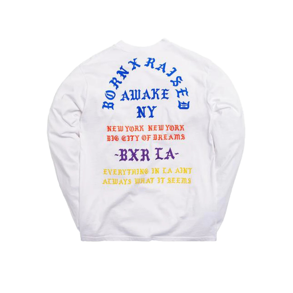 Awake x Born X Raised Coast To Coast LS Tee White 1