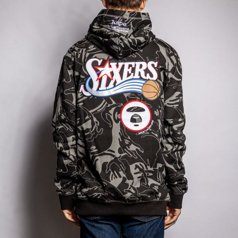 Aape x Mitchell Ness Philadelphia 76ers Hoodie Black 4