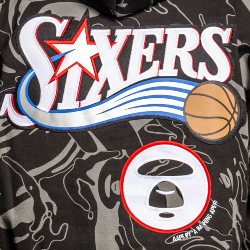 Aape x Mitchell Ness Philadelphia 76ers Hoodie Black 6
