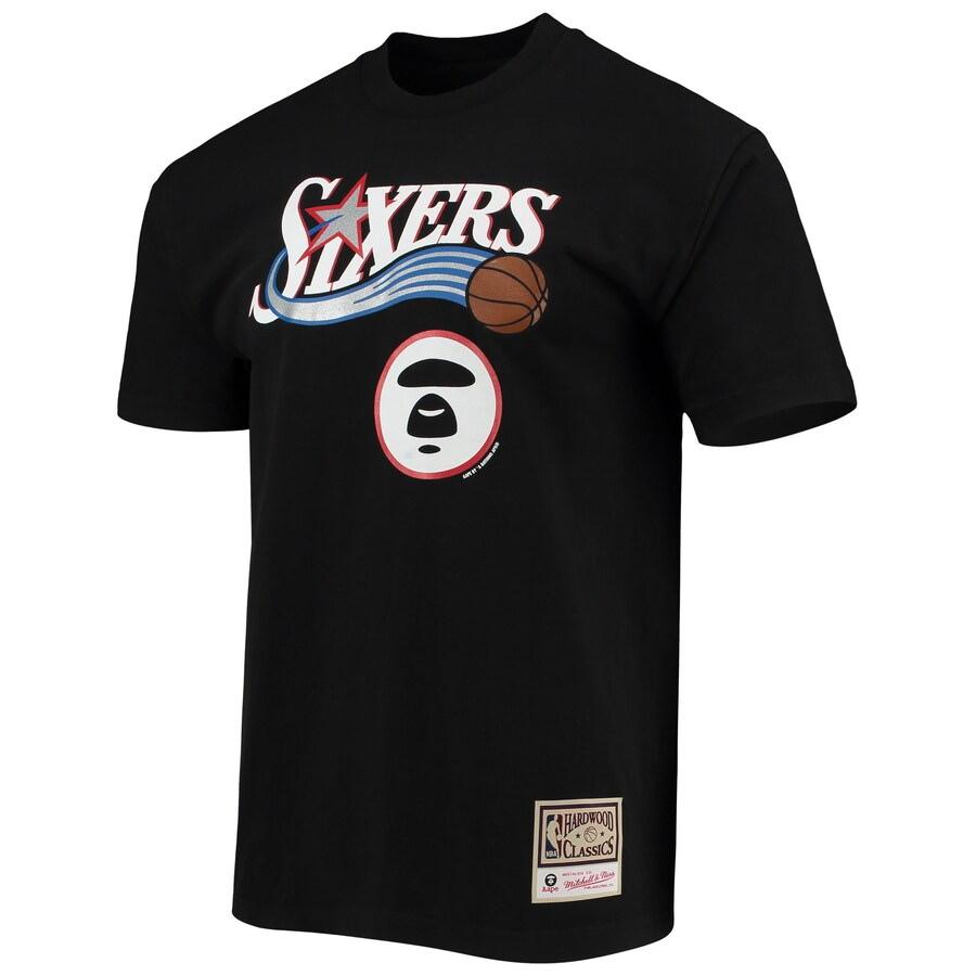 Aape x Mitchell Ness Philadelphia 76ers Tee Black