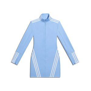 adidas Ivy Park 12 Zip Latex Dress Plus Size Light BlueWhite