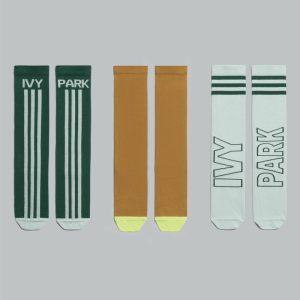 adidas Ivy Park 3 Pack Logo Socks Green TintYellow TintDark Green